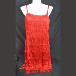 NWT Unique Vintage Red Fringe Dress 2XL